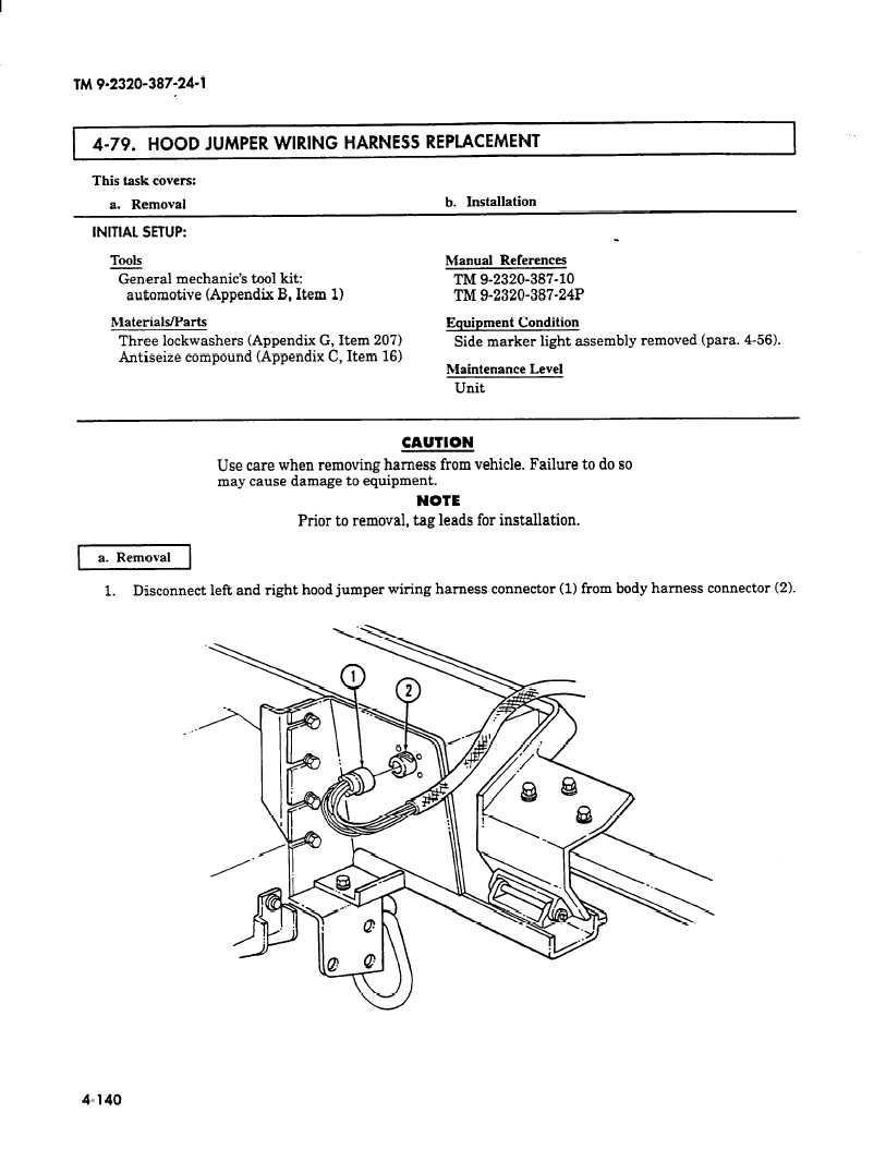 Hood Jumper Wiring Harness Replacement I This Task Covers A Removal B Installation Initial Setup Tools Manual References Mechanics Caution Use Care