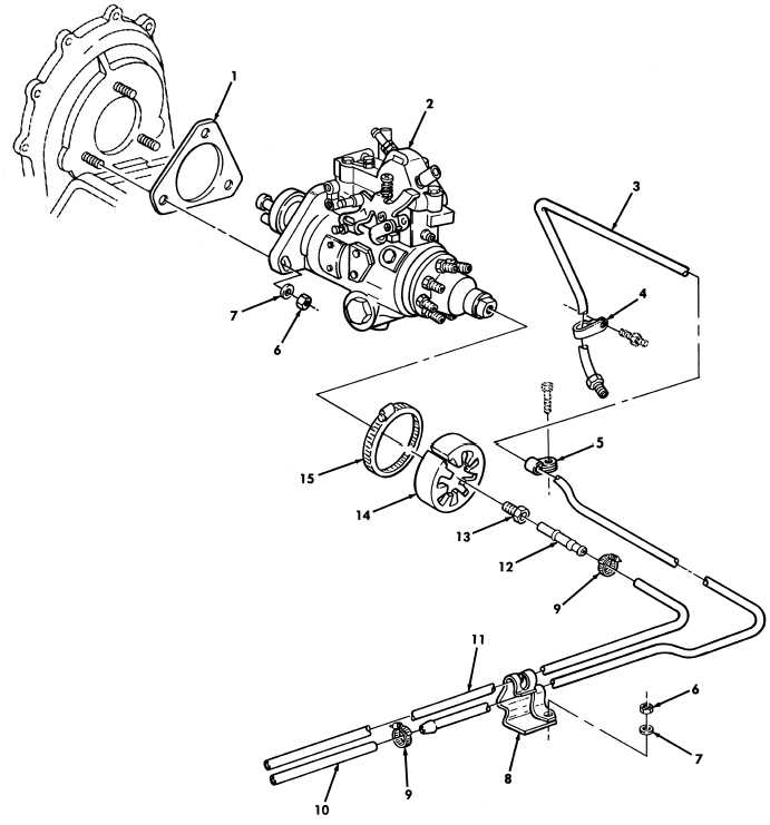 Figure 17 Fuel Injection Pump And Fuel Filter Lines