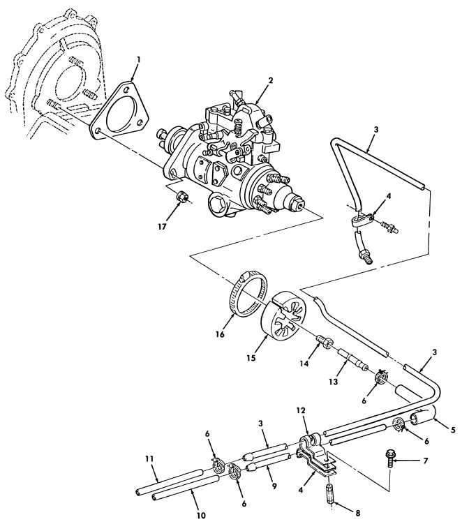 Figure 18 Fuel Injection Pump And Fuel Filter Lines